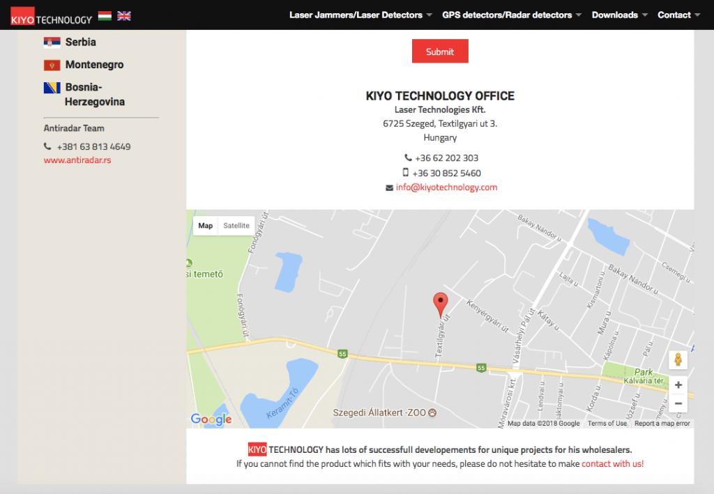 Kontakt strana Kiyo Technology sa mapom - http://kiyotechnology.com